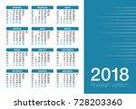 pocket calendar 2018 year  ... | Shutterstock .eps vector #728203360