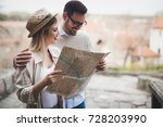 beautiful couple traveling and... | Shutterstock . vector #728203990