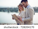 beautiful couple traveling and... | Shutterstock . vector #728204170