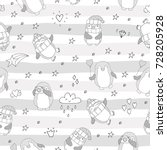 seamless pattern with cute... | Shutterstock .eps vector #728205928