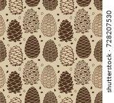 cedar cones  seamless pattern... | Shutterstock .eps vector #728207530