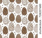 cedar cones  seamless pattern... | Shutterstock .eps vector #728207680