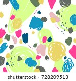 memphis pattern. marker  brush... | Shutterstock .eps vector #728209513
