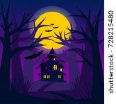 terrible night forest. vector... | Shutterstock .eps vector #728215480
