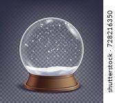 classic snow globe glass sphere ... | Shutterstock . vector #728216350