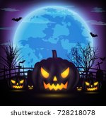 halloween night background with ... | Shutterstock .eps vector #728218078
