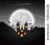 halloween night background with ... | Shutterstock .eps vector #728218138