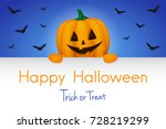 happy halloween   banner with... | Shutterstock .eps vector #728219299