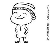 hand drawing of smiley muslim...   Shutterstock .eps vector #728226748
