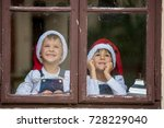two cute boys  brothers ... | Shutterstock . vector #728229040