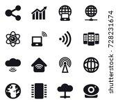 16 vector icon set   share ... | Shutterstock .eps vector #728231674