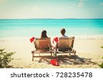 christmas on beach  chair... | Shutterstock . vector #728235478