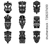tribal tiki mask black... | Shutterstock .eps vector #728237650