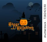 happy halloween and halloween... | Shutterstock .eps vector #728242150