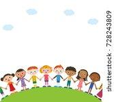 many children holding hands | Shutterstock .eps vector #728243809