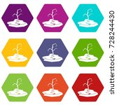 drought icon set many color... | Shutterstock .eps vector #728244430