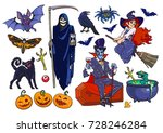 big set of halloween cartoon... | Shutterstock .eps vector #728246284