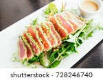 raw and fresh tuna meat with... | Shutterstock . vector #728246740