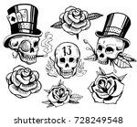 set of skulls and roses. old... | Shutterstock .eps vector #728249548