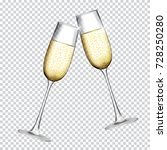 two glass of champagne isolated ... | Shutterstock .eps vector #728250280