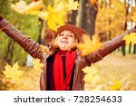 young woman in a hat throws... | Shutterstock . vector #728254633