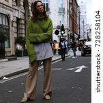 Small photo of LONDON- 15 September 2017 Woman on the street during the London Fashion Week