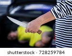 theft holding knife in hand and ...   Shutterstock . vector #728259784