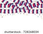 russian flags garland white... | Shutterstock .eps vector #728268034