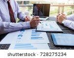 business team meeting present ... | Shutterstock . vector #728275234