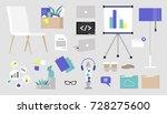office supply sticker pack.... | Shutterstock .eps vector #728275600