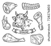 beef cow meat cuts  parts  chop ... | Shutterstock .eps vector #728276803