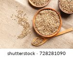 bowls and spoon with hemp seeds ... | Shutterstock . vector #728281090