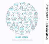 heart attack concept in circle... | Shutterstock .eps vector #728283310