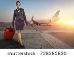 stewardess woman at morning... | Shutterstock . vector #728285830
