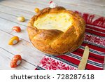 romanian easter cheesecake with ... | Shutterstock . vector #728287618