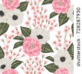 seamless pattern with pink... | Shutterstock .eps vector #728287930