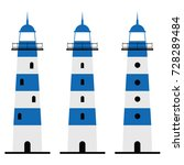 lighthouse in blue and white... | Shutterstock .eps vector #728289484