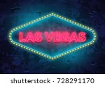 neon las vegas sign on urban... | Shutterstock .eps vector #728291170