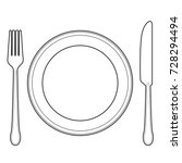 empty plate with knife and fork ... | Shutterstock .eps vector #728294494