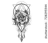 black chaplet  rose flower with ... | Shutterstock .eps vector #728295544