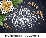 merry christmas handwriting... | Shutterstock .eps vector #728298469