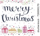 merry christmas greeting card... | Shutterstock .eps vector #728300170