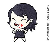 cartoon vampire girl with blood ... | Shutterstock .eps vector #728311243