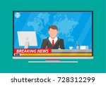 modern flat screen tv with news ... | Shutterstock .eps vector #728312299