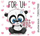 valentine card cute cartoon... | Shutterstock .eps vector #728317900