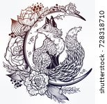 fox on night floral crescent... | Shutterstock .eps vector #728318710