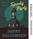 happy halloween poster. cartoon ... | Shutterstock .eps vector #728319826