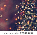 beautiful retro christmas tree. | Shutterstock . vector #728325454