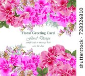 invitation card vector. roses... | Shutterstock .eps vector #728326810