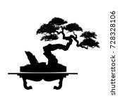 bonsai tree. black silhouette...   Shutterstock .eps vector #728328106
